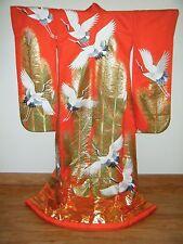 Unique Japanese Uchikake Wedding Kimono w/ Embroidered Pine & Cranes