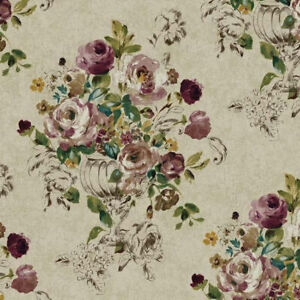 Montage-Floral-Trail-Sketch-Roses-Vase-Wallpaper-NP6303-Priced-per-Double-Roll