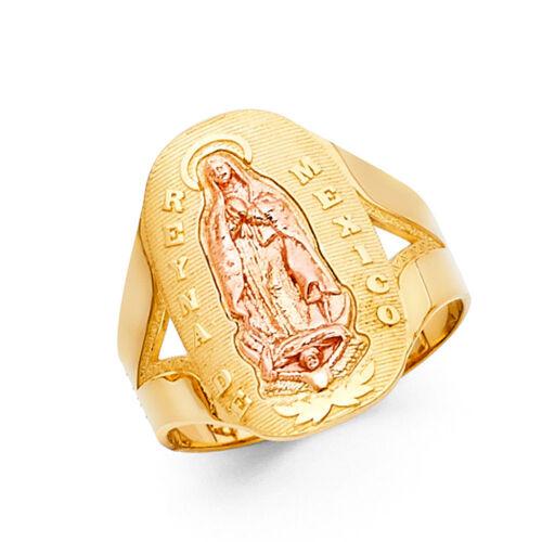 Femmes 14k Jaune Tri Tone or véritable Reyna de Vierge Marie sur taille Ring Band
