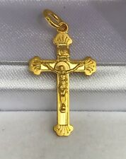 24k Solid Yellow Gold Small Jesus Cross Charm/ Pendant. 1.42Grams