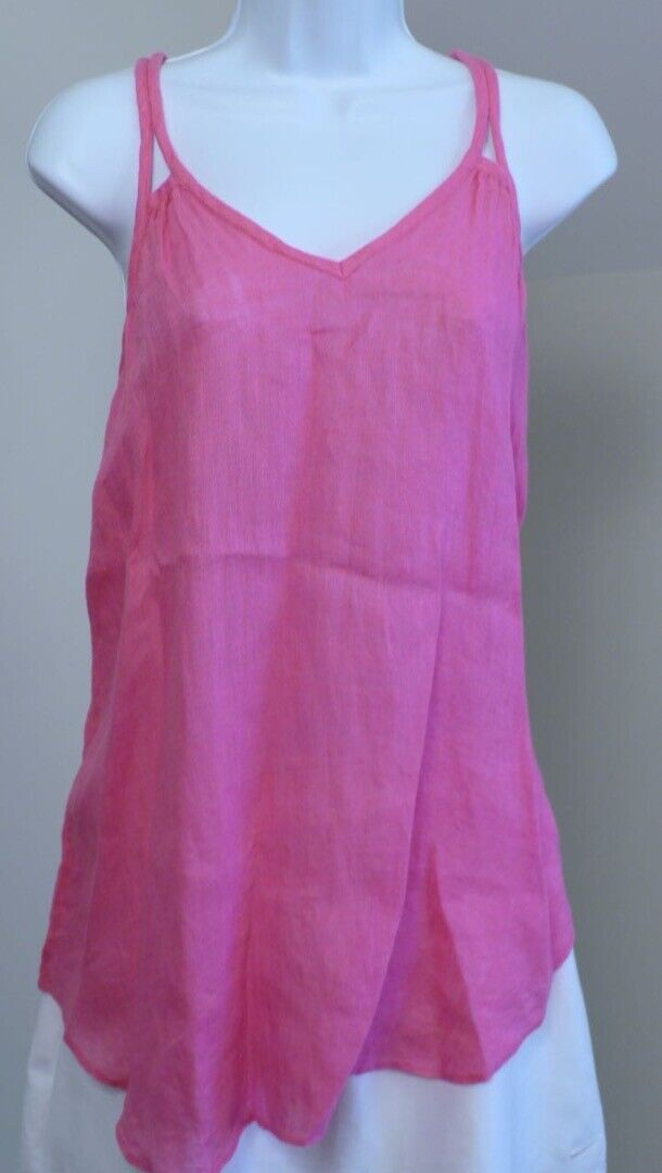 CALYPSO ST. BARTHS Fuchsia Rosa Linen Gauze V-Neck Sleeveless Tunic Top Sz S