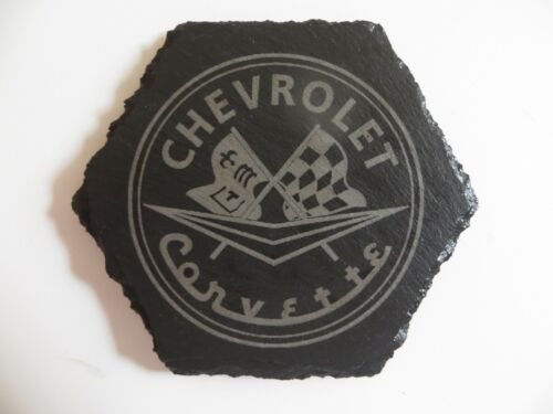 CHEVROLET CORVETTE Car Logo Coaster Corvette Car Lovers Gift Natural Slate