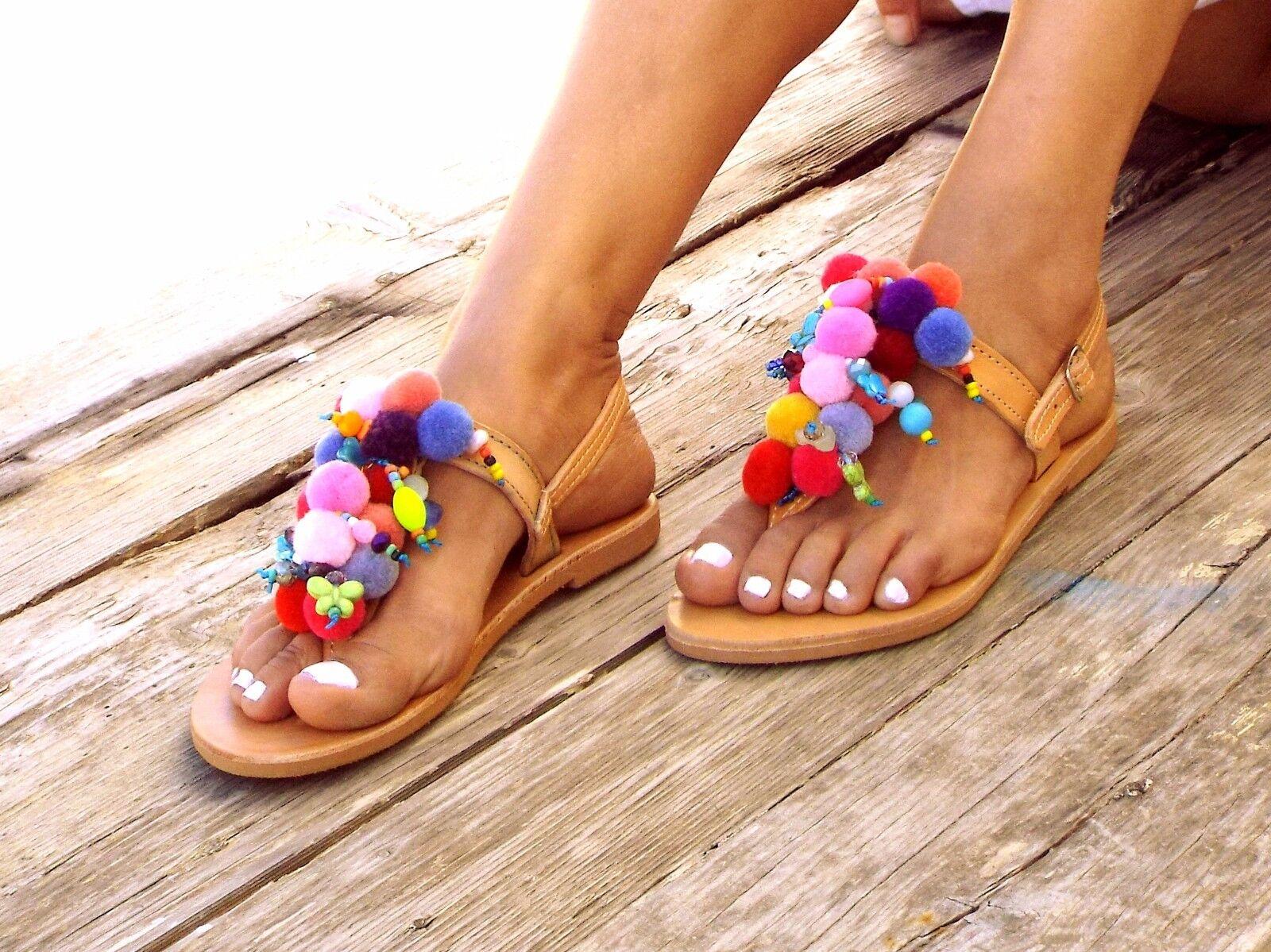 Alkioni, Pom Pom sandals, Handmade leather sandals, T-strap sandals, boho sandal