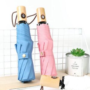 Auto Tri-folded Rain Umbrella Inverted Reverse Travel Wooden Handle Solid Color