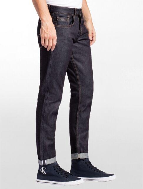 beauty new york on feet shots of Calvin Klein CK Italian Raw Selvedge Denim Men's Straight Taper Jeans NEW  33x32