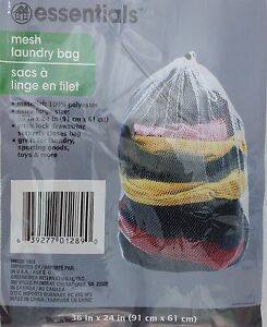 "LAUNDRY BAG MESH w DRAW STRING White Polyester 24""x36"" Laundry Sporting Goods To"