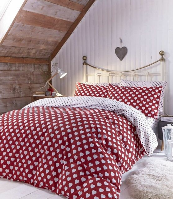 Catherine Lansfield BRUSHED HEARTS  Brushed Cotton Duvet Sets Single Double King