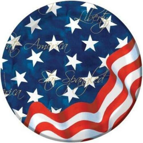 America America Red White and Blue Flag 7 Inch Plates 8 Pack Patriotic Supplies