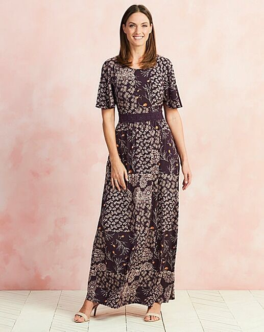 Capsule Mulberry Print Lace Detail Maxi Kleid Größe UK 18 DH078 ii 13