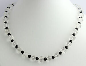 Rock Crystal Chain With Black Spinel Precious Stone Necklace Faceted 45 CM