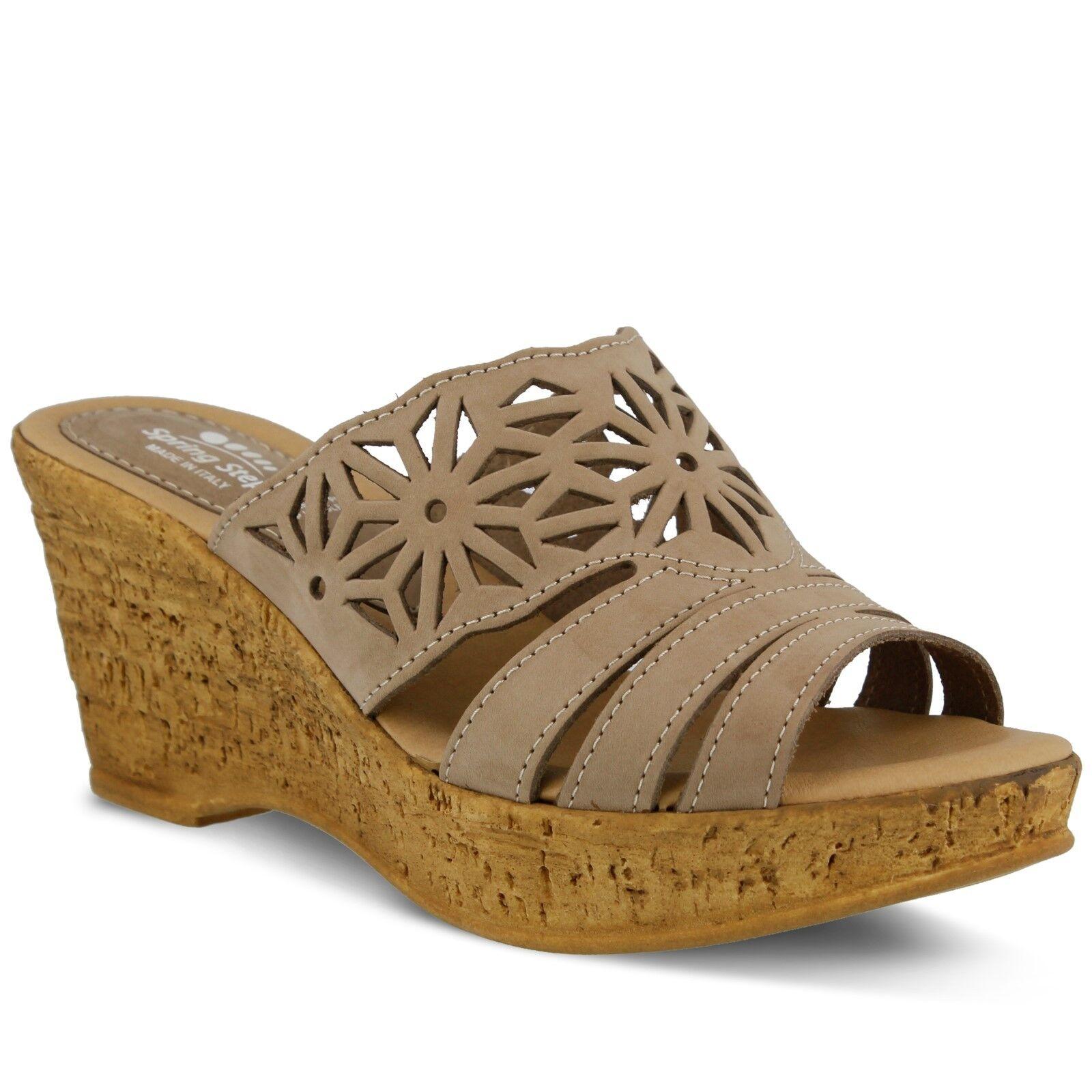 Spring Step Dora Women's Beige Leather Platform Slide Sandal Euro 42, US 10.5,11