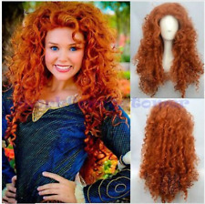 Brave Merida Curly Wavy Orange Hair Cosplay Party Long Wig Costume Wigs