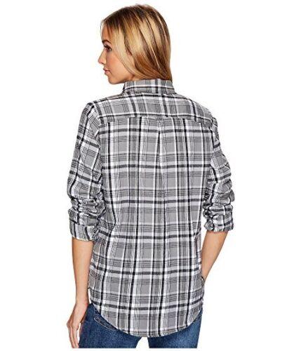 Hurley Plaid Women/'s Button-Down Cotton Long-Sleeve Top Black White sz M L XL