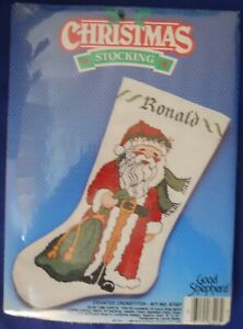 Counted Cross Stitch Kit Good Shepherd Christmas Stocking Olde Time Santa 87207