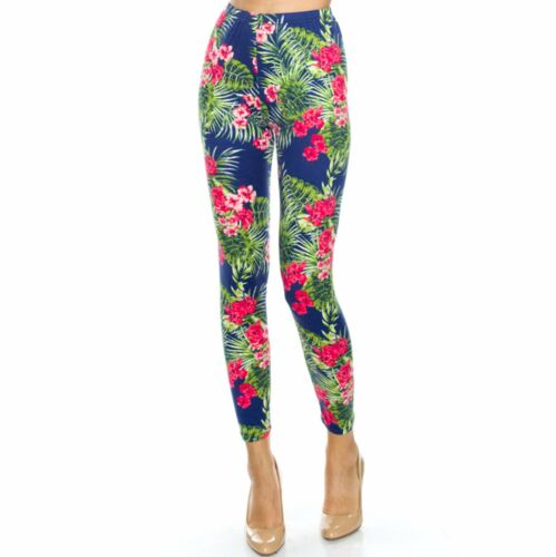Women/'s Tropical Floral Printed Leggings Buttery Soft Peach Skin One Size 0-12
