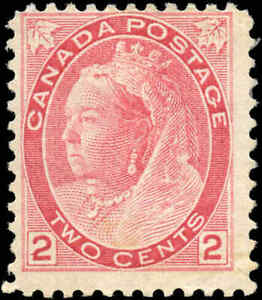 1899-Mint-H-Canada-F-Scott-77-2c-Queen-Victoria-Numeral-Issue-Stamp