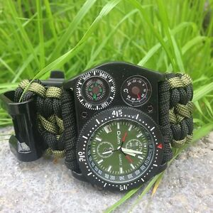 Outdoor-Survival-Watch-Bracelet-Compass-Paracord-Rope-Fire-Thermometer-Whistle