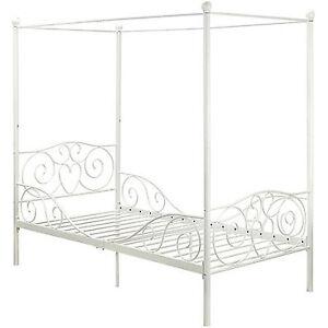 girls twin size metal bed canopy style white modern platform bedroom furniture ebay. Black Bedroom Furniture Sets. Home Design Ideas
