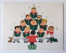Unused HALLMARK Vintage Christmas Card Cute Sing Choir Boy Conductor Puppy Dog
