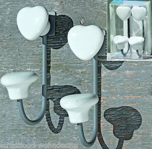 Set-De-Dos-Gancho-Guardarropa-Perchero-Corazon-Blanco-Ceramica-toallas