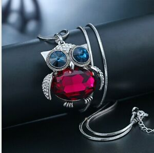 Halskette-mit-Eule-Anhaenger-Silber-Vintage-Schmuck-Damen-Frau-Collier-lang-75cm