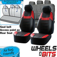 Vauxhall Omega Signum Universal Black & Red Pvc Leather Look Car Seat Cover Set