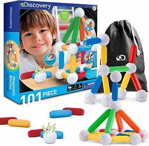 Discovery-Kids-101-Piece-Best-Magnetic-Tile-Building-Blocks-Kit-Educational-NEW