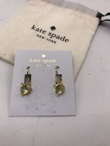 $48 Kate Spade Rise /& Shine Gold Tone Drop Earrings Pink Stone #A1