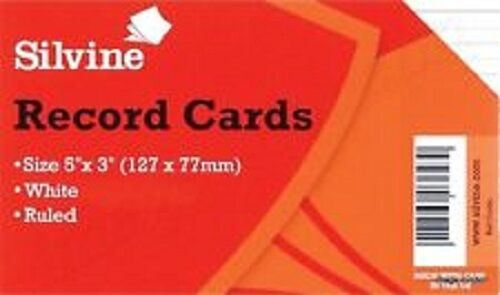 """127 x77 mm Silvine Record Cards Ruled 5/"""" X 3/"""" Revision card Flash WHITE//RULLED"""