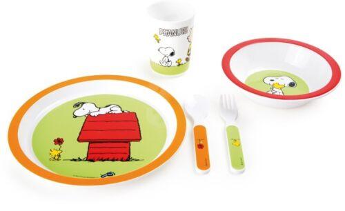 Peanuts Kindergeschirr 5tlg Snoopy Geschirr Lernbesteck Frühstücksset für Kinder