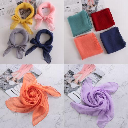 Elegant Chiffon Silk  Square Scarf Head Neck Band Solid Color Neckerchief
