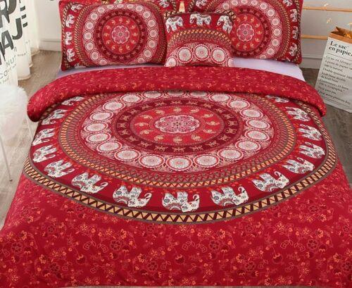 Bedding Set Queen Size Elephant Print Bed Mandala Pattern Duvet Covers Sets 5pcs