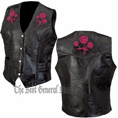 Black Leather Ladies Women Vest with Rose Biker Motorcycle Fashion Moto Fashion