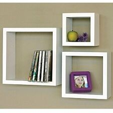 Modern Home 3 Pieces Floating Shelves White Square Cube Wall Shelf Set