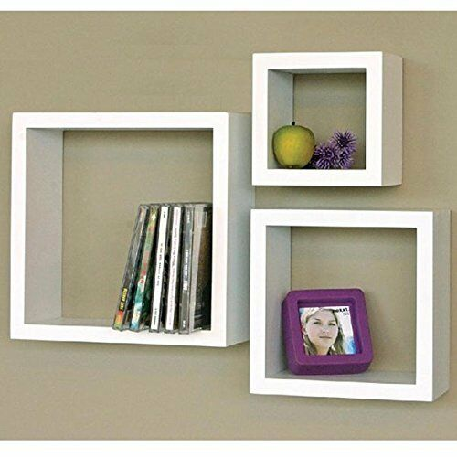 Modern Home 40 Pieces Floating Shelves White Square Cube Wall Shelf Enchanting White Square Floating Shelves