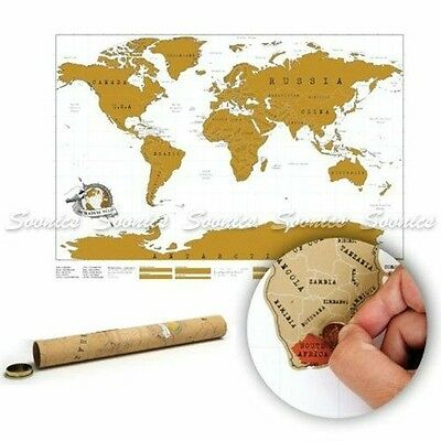 Large Size Scratch Off World Map Poster Personalized Travel Vacation Log Gift