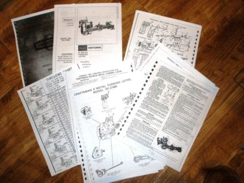 "Atlas Craftsman 101.21400 6/"" Inch Lathe 18 Page manual /& instructions Threading"