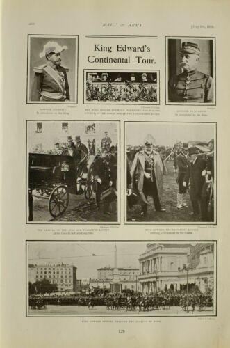 1903 PRINT KING EDWARD VII IN ROME ARRIVAL WITH PRESIDENT LOUBET GENERAL CROIX