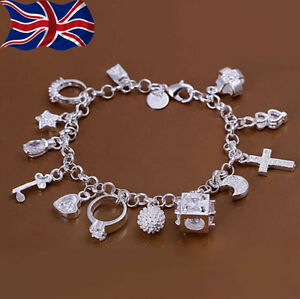 Image is loading 925-Sterling-Silver-Charm-Bracelet-Crystal-Charms-Chain- 85ae40c6b