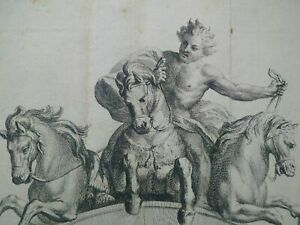 Rare gravure XVIIème XVIIIème Cocher du cirque Lecomte Simon Thomassin Le Comte