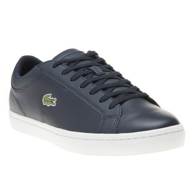 New Mens Lacoste Navy Straight Set Leather Trainers Court Lace Up