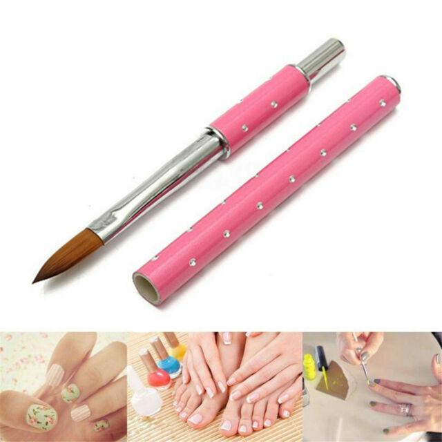 1PC Acrylic Nail Art UV Gel Carving Pen Brush Metal Handle Kolinsky Hair 8#