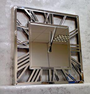 Mirrored Glass Square Roman Wall Clock Large 80cm Latest Design Ebay