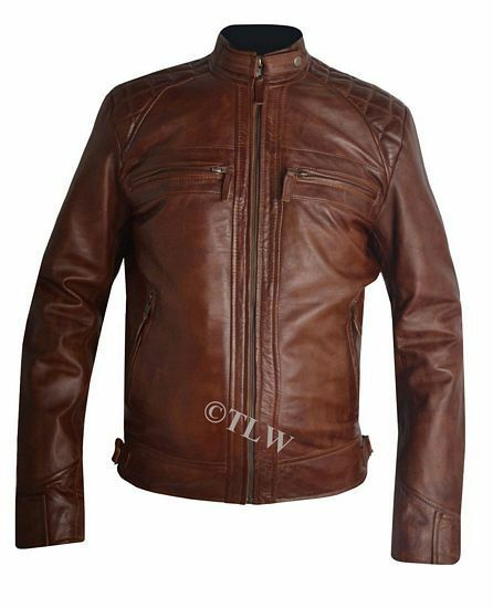 Mens Biker Vintage Motorcycle Classic Diamond Brown Distressed Leather