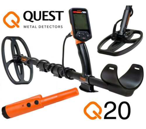 Deteknix Quest Q20 Metalldetektor incl Gratis XPointer und Gratis Handschaufel