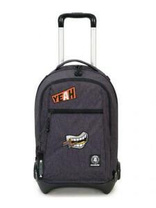 Invicta-trolley-scuola-viaggio-schienale-staccabile-plug-plus-fantasy-grigio