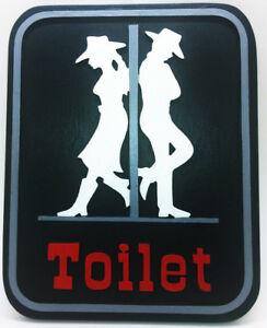 Details About Wood Plaque Bathroom Uni Restroom Toilet Vintage Wooden Decor Signs Cowboy