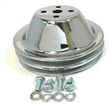 Sb Chevy Water Pump Pulley Short 2 Grooves Double Swp Sbc 350 383 400 Chrome