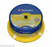 Verbatim 43489 4.7GB 4x 120MIN DVD+RW - ReWriteable Matt Silver Spindle 25 Pack