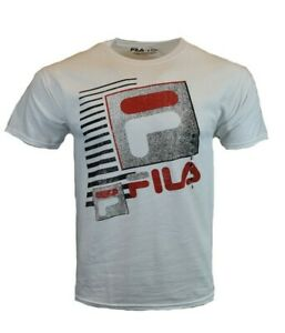 FILA-Men-T-Shirt-S-M-L-XL-2XL-Logo-Athletic-Sports-Apparel-Graphic-Tee-White-NEW
